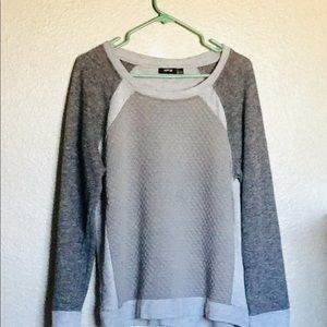 Apt 9 Waffle Decor and Knit Gray Sweater Sz L